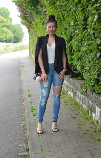 jacket raspberry jam top cape blazer scalloped black blazer blogger jeans bag jewels shoes