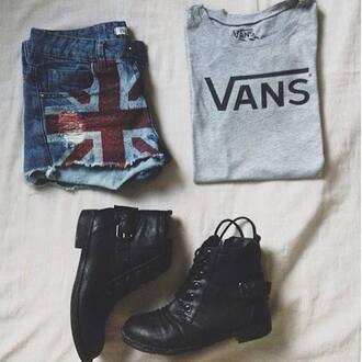 shorts van shirt combat boots usa shorts shoes t-shirt american flag shorts style swag cool vans