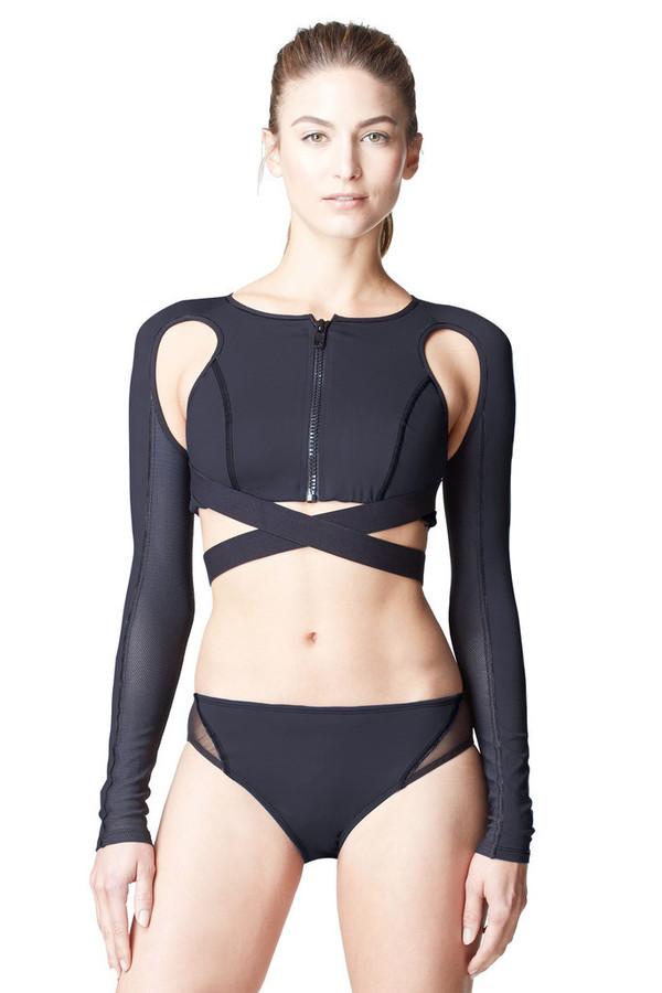 Top Black Long Sleeve Activewear Bikini Bikini Top