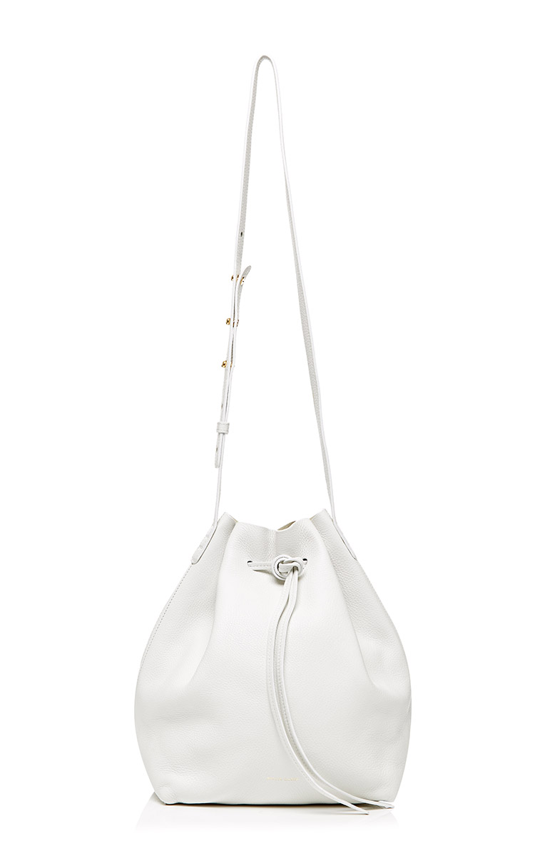 Tumble leather bucket bag in white by mansur gavriel