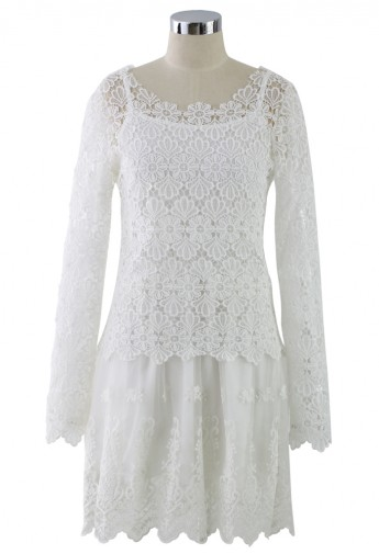 Macrame-lace Crochet Embroidered Twinset Dress - Retro, Indie and Unique Fashion