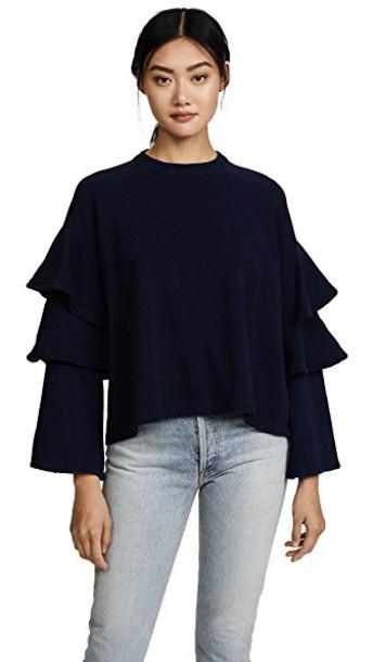 AG sweatshirt ruffle pearl dark sweater