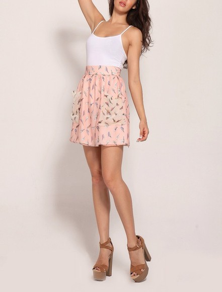 skirt pink skirt birds pink skater skirt crazeclothing skater skirt boho craze clothing