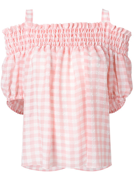 top women cold purple pink gingham