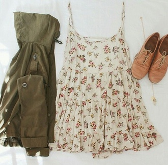 dress cream white summer dress with small flowers on it earphones