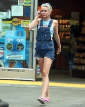 shorts,slippers,miley cyrus,shoes,overalls,denim,denim overalls,top