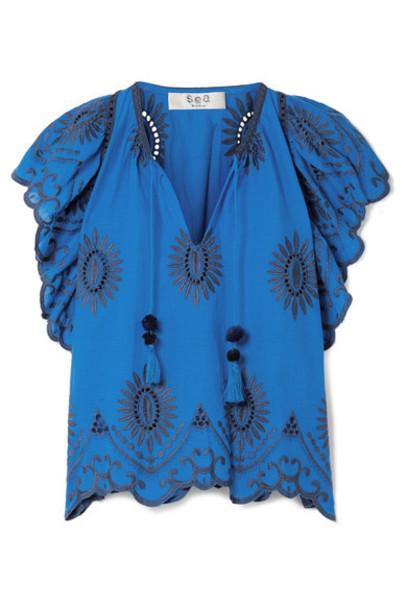 SEA blouse cotton blue bright top