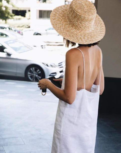 e29de16d929e5 dress linen linen dress white dress spaghetti straps dress open back dresses  hat straw hat summer