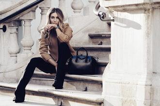 lydia elise millen blogger coat bag top shoes jewels sunglasses beige coat handbag givenchy bag black pants