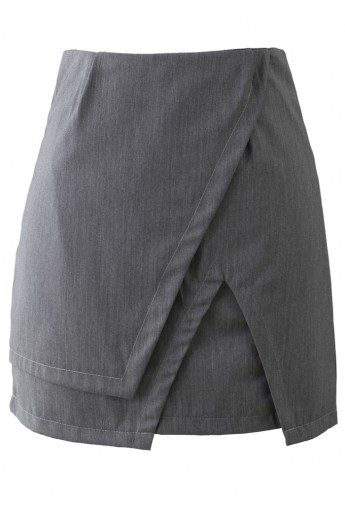 Asymmetric Split Hem Skirt in Grey - Retro, Indie and Unique Fashion