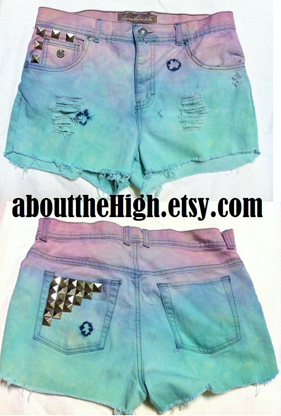 Studded pastel two color high waisted shorts par aboutthehigh