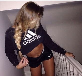 blouse jumper adidas sweatshirt adidas wings adidas jacket adidas sweater adidas adidas sweats adidas shirt black t-shirt black crop top black top black sweater black and white shorts style sportswear fitness fitness tank fitness gym gym sports nike shorts nike pro shorts nike pro
