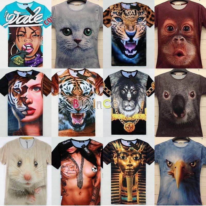 Men Women Sexy 3D slim animal Tee Short Sleeve T-shirt Leopard Cat Eagle Lion