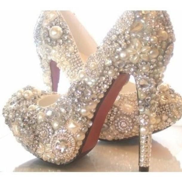 shoes pearl diamonds glitter heels pumps high heels