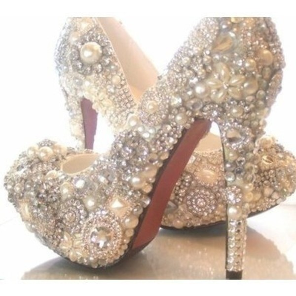 shoes pearl diamonds glitter heels pumps high heels