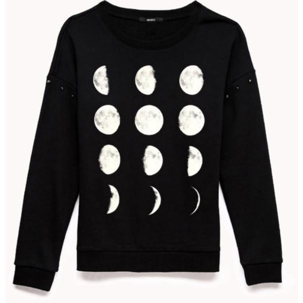 sweater moon black white hoodie