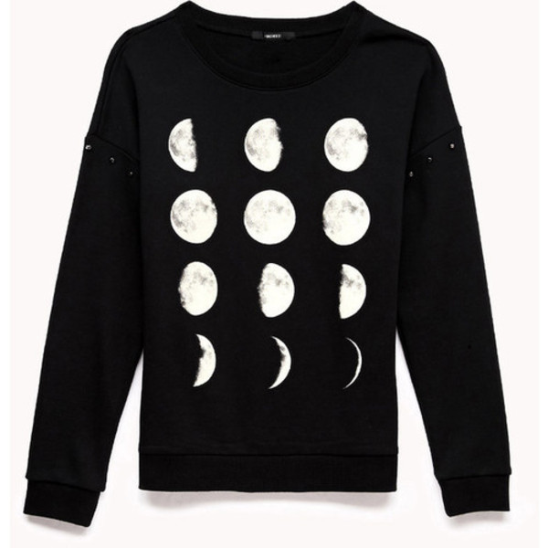 sweater moon black white hoodie