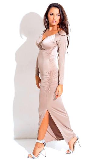 Mocha wrap front ruched long sleeve high slit formal evening maxi dress