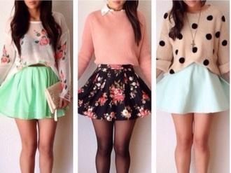 cardigan blouse skirt leggings