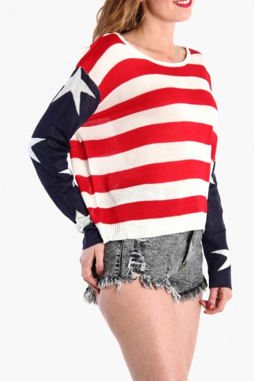 LoveMelrose.com From Harry & Molly | AMERICAN FLAG SWEATER