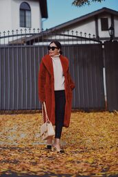 hallie daily,blogger,coat,jeans,bag,sunglasses,sweater,jewels,faux fur coat,winter outfits,chanel bag,chanel slingbacks