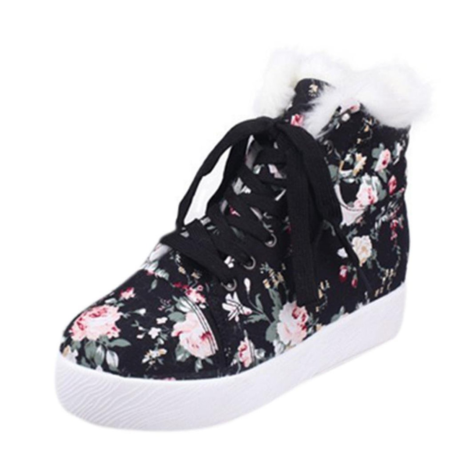 Amazon.com: hee grand women fashion retro flower printed platform wedge ankle boots sneakers: shoes