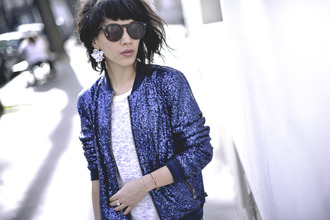jacket glitter sparkle blue