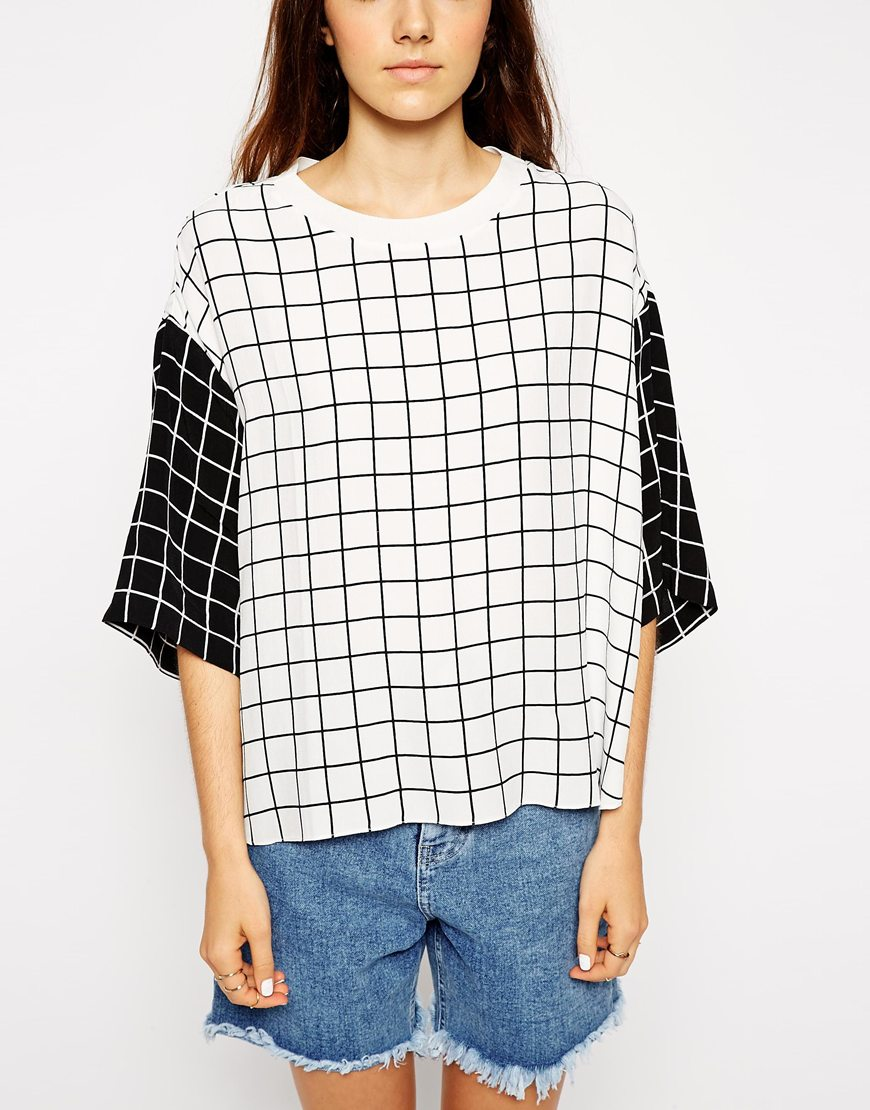 Shirt with contrast grid print at asos.com