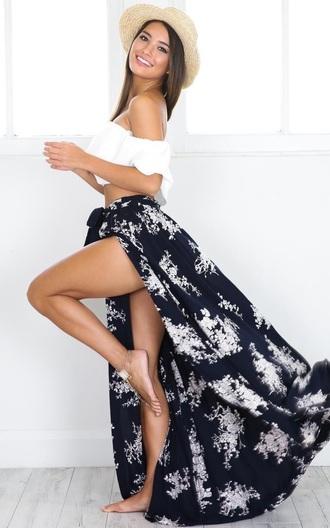 skirt sexy slit skirt slit blue floral summer