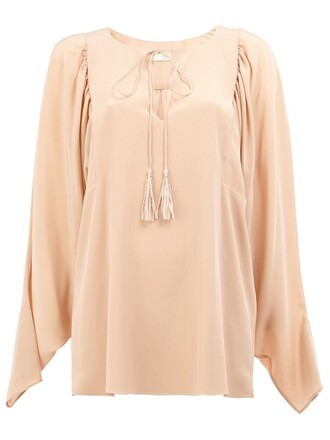 blouse slit purple pink top