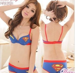 Japan style cartoon 12/lot superwomen superman bra lingerie sexy mignon3 taille 3 couleur 4 style