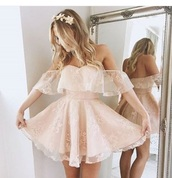 dress,pink,lace,nude,lace dress,skater dress,wedding,off the shoulder,baby pink,light pink,flowy,mesh,dainty,detailed dress,detailed,pinky nude,knee high dress,off the shoulder dress,flowy dress,white dress,flowers,pastel,prom dress,short dress,mini dress,nude pink,casual,cute dress,midi dress,nude dress,short homecoming dress,homecoming dress beads