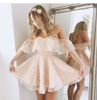 dress pink lace nude lace dress skater dress wedding off the shoulder baby pink light pink flowy mesh dainty detailed dress detailed pinky nude knee high dress off the shoulder dress flowy dress white dress flowers pastel prom dress short dress mini dress nude pink casual cute dress midi dress nude dress short homecoming dress homecoming dress beads