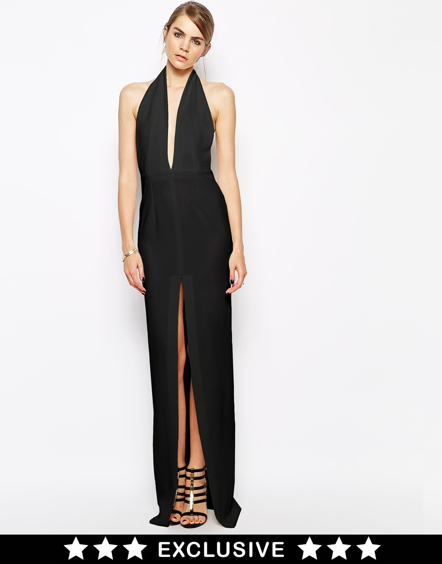 Solace London Aeryn Maxi Dress With Plunge Neck and Thigh Split at asos.com