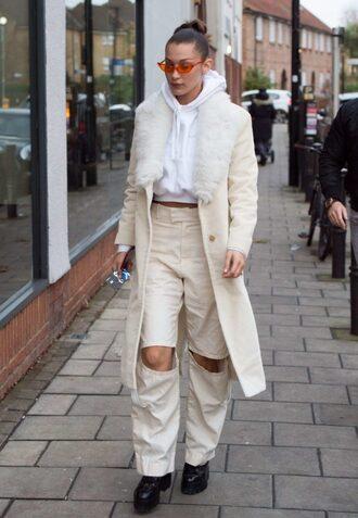 pants streetstyle bella hadid model off-duty coat hoodie sunglasses