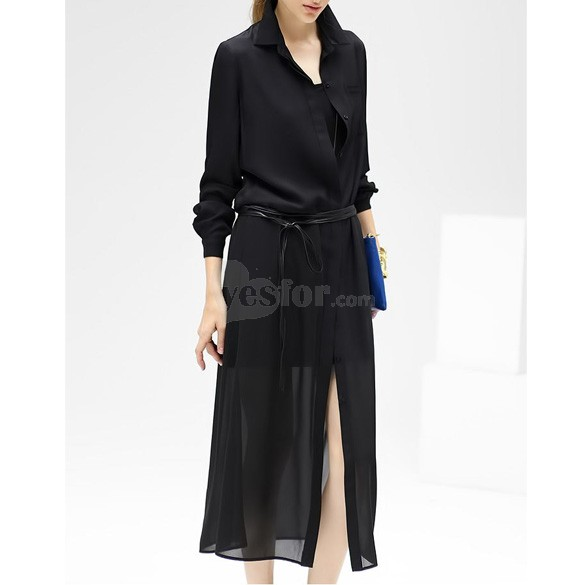 Woman Sexy Split Chiffon Long Blouse Dress Button Up Shirt Long Sleeve , unit price of $13.74 only - Yesfor.com