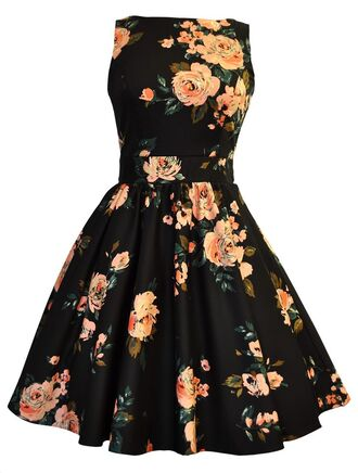 dress flowers flare dancing wedding reception dress floral roses high neck vintage big pattern black dress sleevless dress pleated dress sporty dress halter dress floral black dress floral pleated dress floral halterdress floral sporty dress floral dress shoes jewels skirt bag nail polish hair accessory summer dress summer petticoat black orange 50s style 50s dress date outfit black floral dress