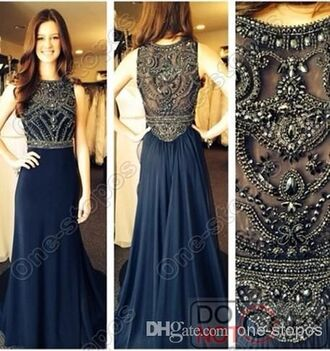 dress vintage dark blue prom dress