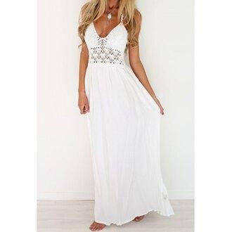 dress white style fashion long dress maxi crochet trendy pretty stylish rose wholesale-jan