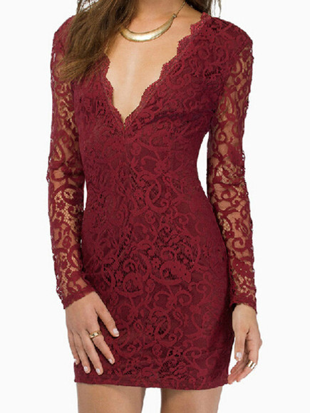 dress mini claret red sexy lace deep v neck bodycon long sleeves zip
