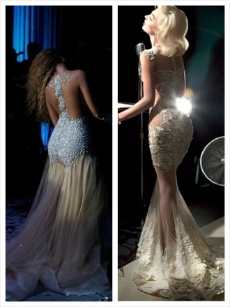 dress prom jewels gown marilyn monroe hair white beige nude cream details design beaded lace long dress detail dress