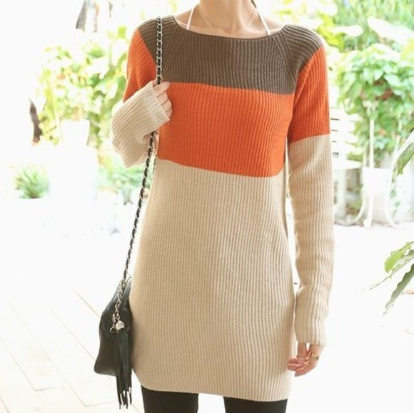 long slim sweater mixed color