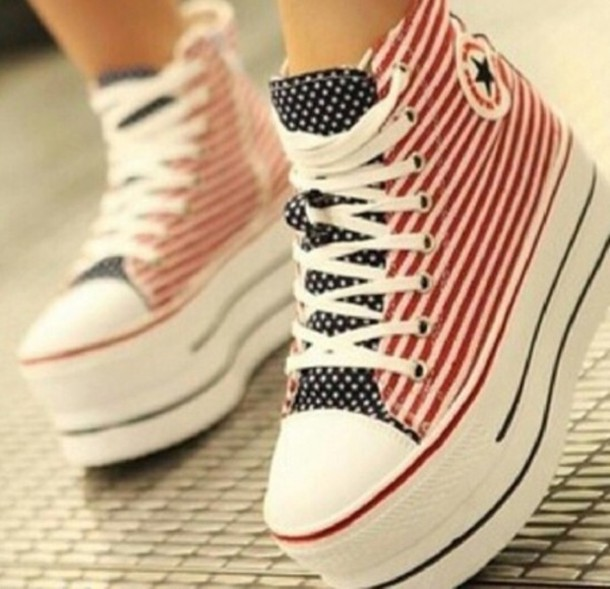 shoes red white blue converse