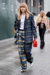 pants,tartan pants,tartan,blazer,tartan blazer,top,boots,white boots,white top