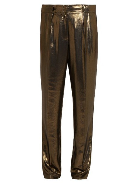 ELIZABETH AND JAMES Hawke pleated straight-leg lamé trousers in gold