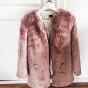 coat,pink,faux fur,pink faux fur,faux fur jacket