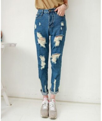 jeans ripped jeans it girl shop high waisted jeans hippie hipster vintage streetwear urban