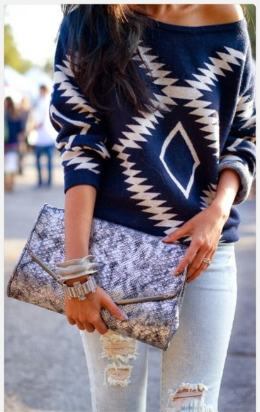 blue and white sweater tribal sweater bag