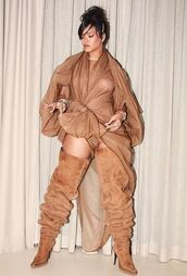dress,boots,rihanna,camel,monochrome,instagram,coachella,festival,over the knee boots,nude,hair accessory