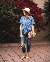 bag,hat,tumblr,clutch,top,blue top,tie-front top,denim,jeans,blue jeans,ripped jeans,shoes,mules